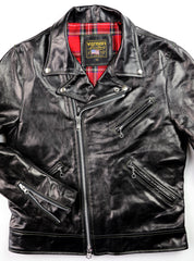 Black leather jacket with asymmetrical nickel zipper, three pockets, collar with lapel that snaps down and zippered sleeves.