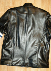 Black of black leather motorcycle jacket.  Vertical center seam with shoulder gussets that open.