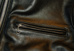 Close-up of zippered chest pocket with ring pull.