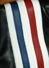 Close-up of red, white and blue stripes on right shoulder.
