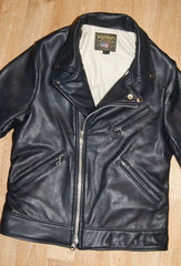 Vanson Daredevil, size Medium/Large, Tan Lining, Navy Cowhide