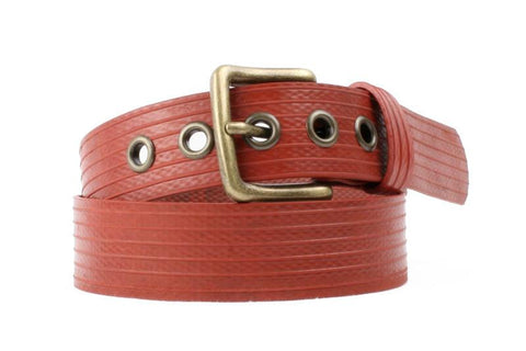 Image of red belt made from fire hose