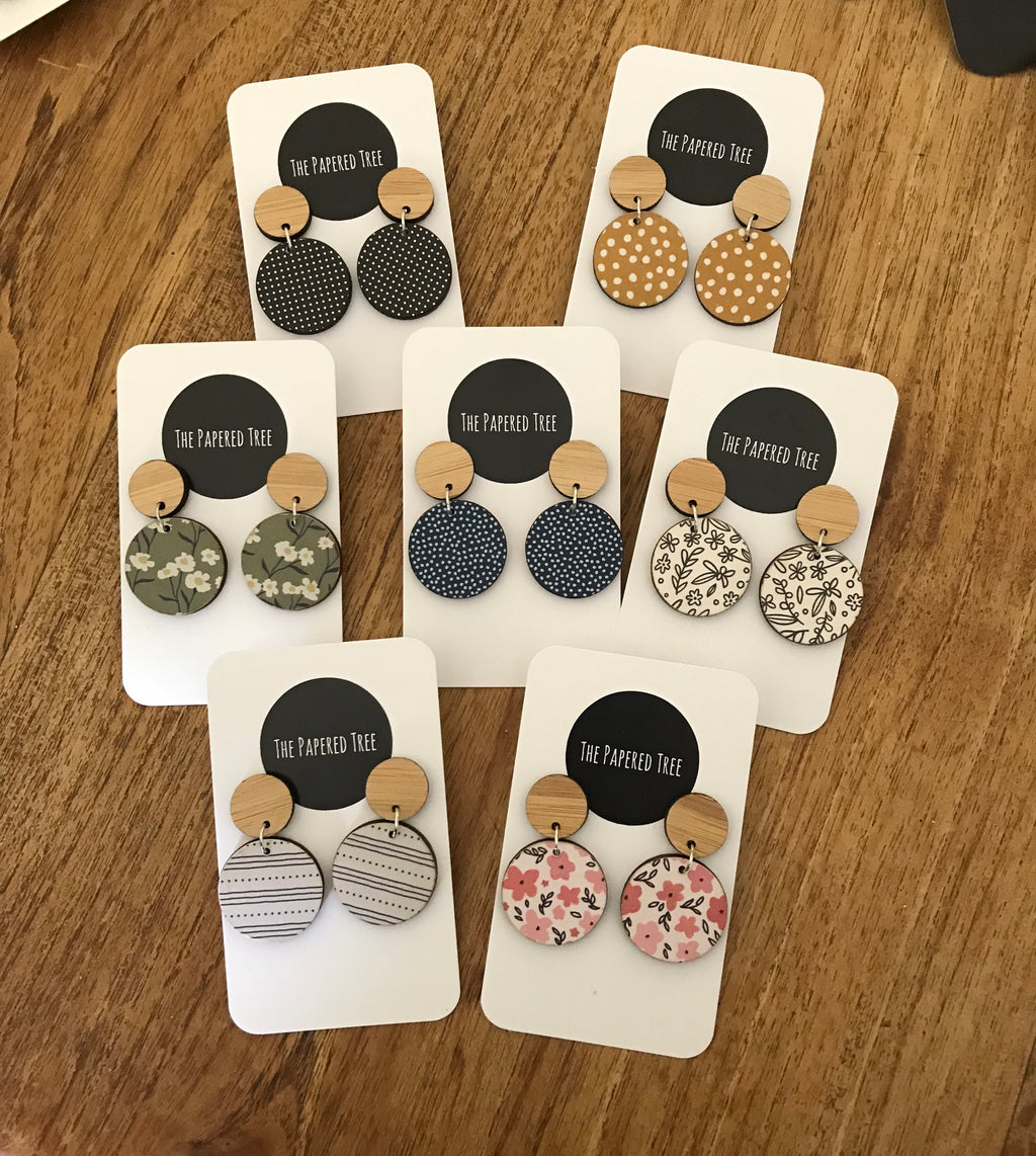 The Papered Tree Circle Drop Earrings -Earrings Melbourne