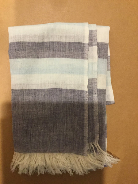 Cotton scarf - blue and white stripe - last minute gift idea