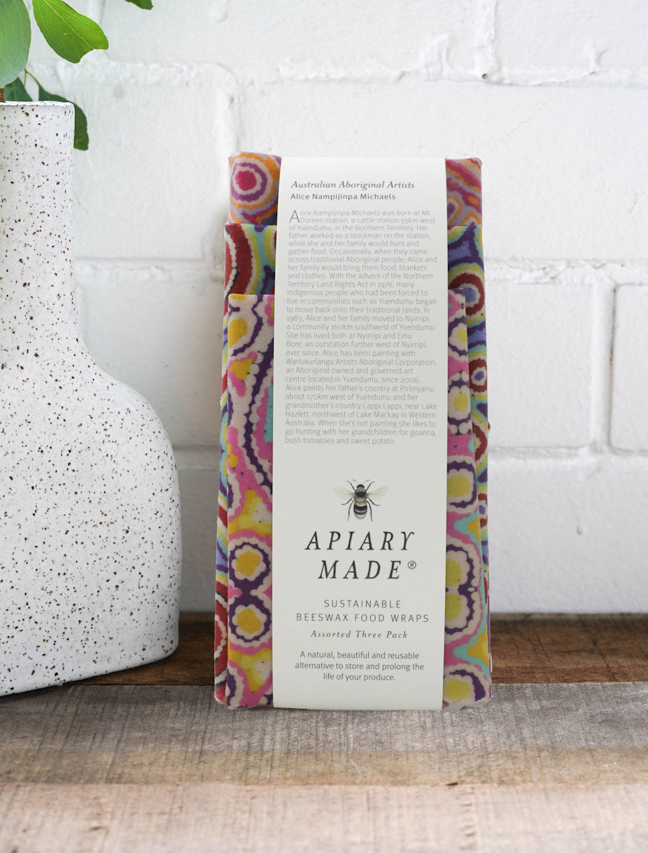 Apiary Made Australian Aboriginal Artist Beeswax Wraps - Assorted 3 pack -Kitchen Melbourne