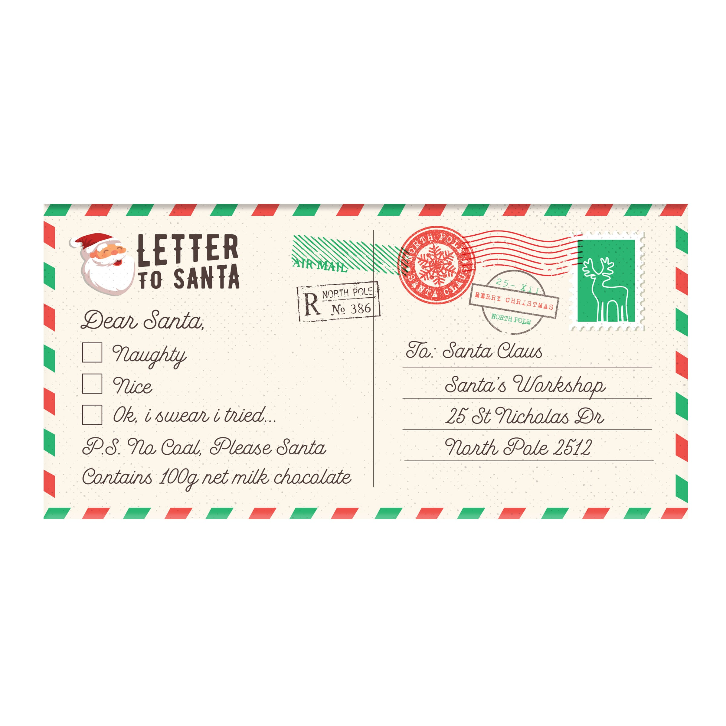 BellaBerry Letter to Santa Milk Chocolate -Chocolate