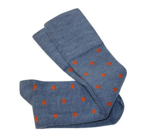 Tightology Dotty Merino Wool Socks -Socks Blue and Rust Dots Melbourne