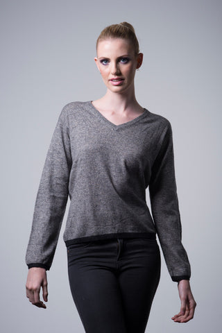 Cashmere Border Sweater - med grey - last minute gift idea