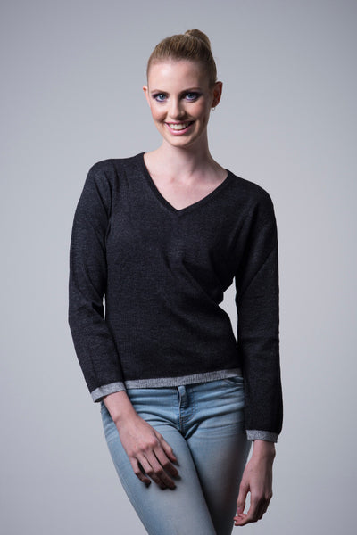Nine Yaks Cashmere Border Sweater - charcoal -Sweater Melbourne