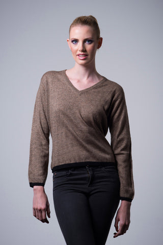 Cashmere Border Sweater - dark brown - Australia