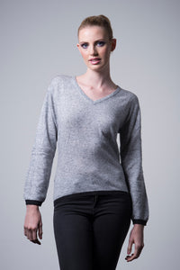 Nine Yaks Cashmere Border Sweater - light grey -Sweater