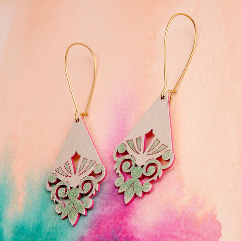 Pimelia Briony Earrings -Jewellery Green/Pink Melbourne
