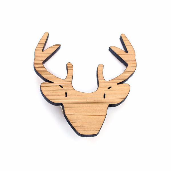 One Happy Leaf Stag Head Brooch -Brooch Melbourne