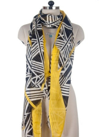Nine Yaks Yellow Geometric Shawl -Scarf Melbourne