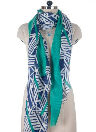 Nine Yaks Blue Geometric shawl -Scarf Melbourne