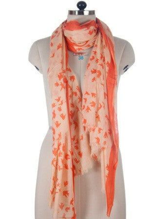 Nine Yaks Orange Bird Shawl -Scarf Melbourne