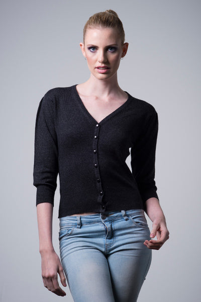 Nine Yaks Nine Yaks Natural Cardigan -Sweater Charcoal Melbourne
