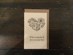 With Sympathy & Love Flower Heart Seed Card - Pookipoiga