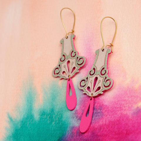 Pimelia Dalia Earrings -Jewellery Green/Pink Melbourne