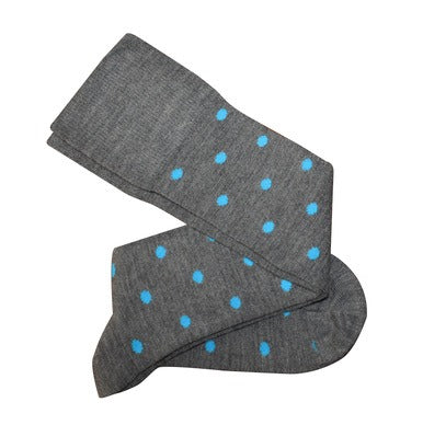 Tightology Dotty Merino Wool Socks -Socks Dotty Grey/Aqua Melbourne
