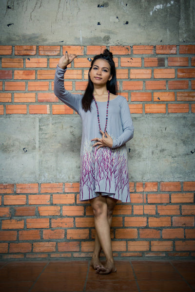 Tonle voleak dress - grey with trees -Clothing Melbourne