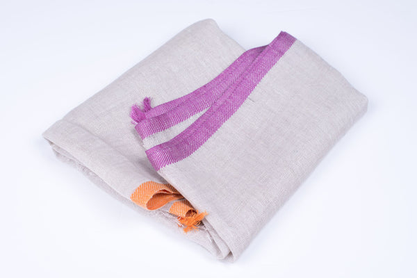 Nine Yaks Linen Scarf Natural, Purple and Orange -Scarf Melbourne