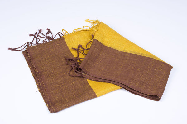 Nine Yaks Linen Scarf Brown and Yellow -Scarf Melbourne