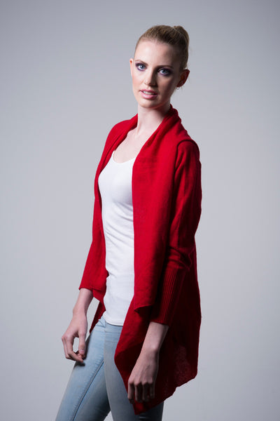 Nine Yaks Nine Yaks Waterfall Cardigan -Cardigan Red Melbourne