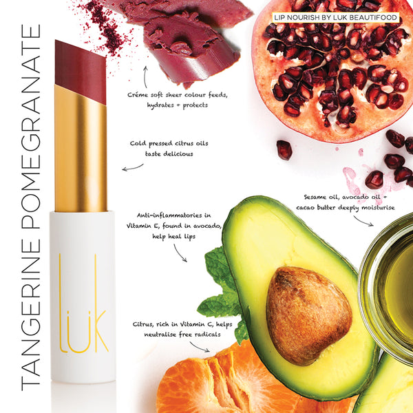 Luk Beautifood Lip Nourish Lipstick -Lipstick Tangerine Pomegranate Melbourne