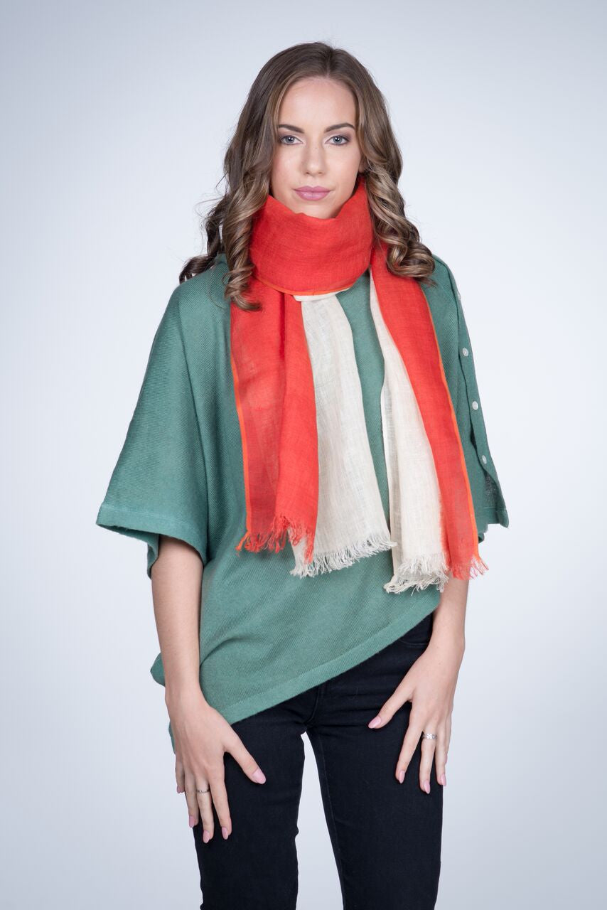 Nine Yaks Linen Scarf Red -Scarf