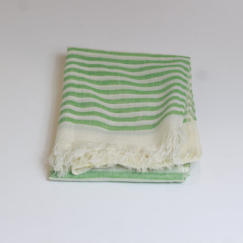 Cotton scarf - green stripe - last minute gift idea