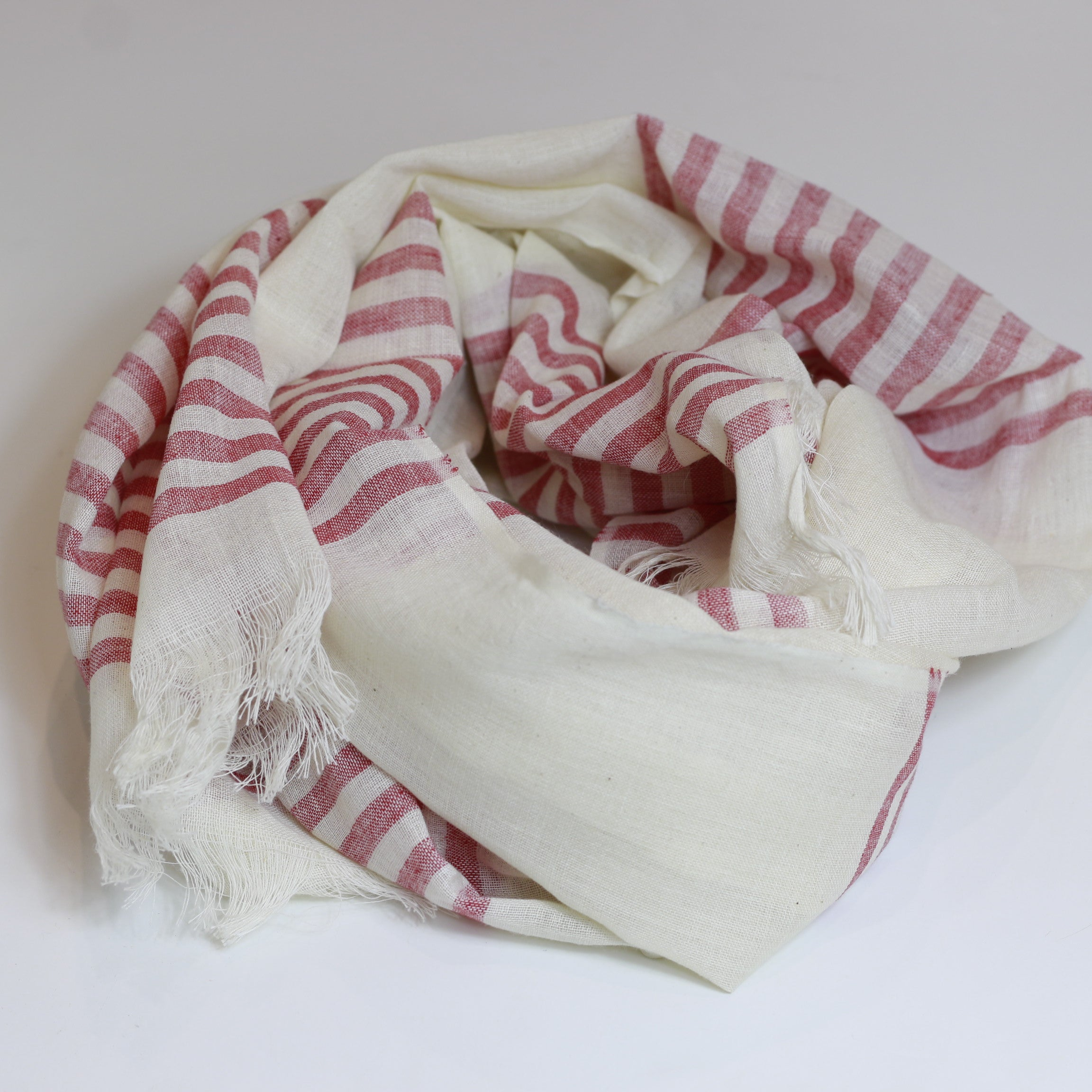 Nine Yaks Cotton scarf - pink stripe -Scarf