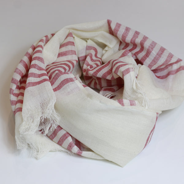 Nine Yaks Cotton scarf - pink stripe -Scarf Melbourne