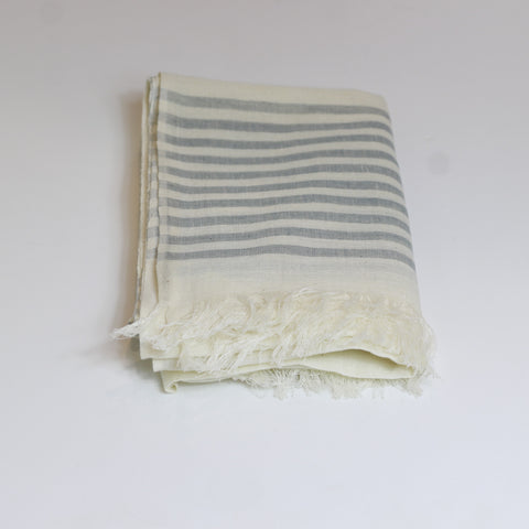 Cotton scarf - grey stripe - last minute gift idea