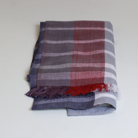 Cotton scarf - Purple, red stripe - last minute gift idea