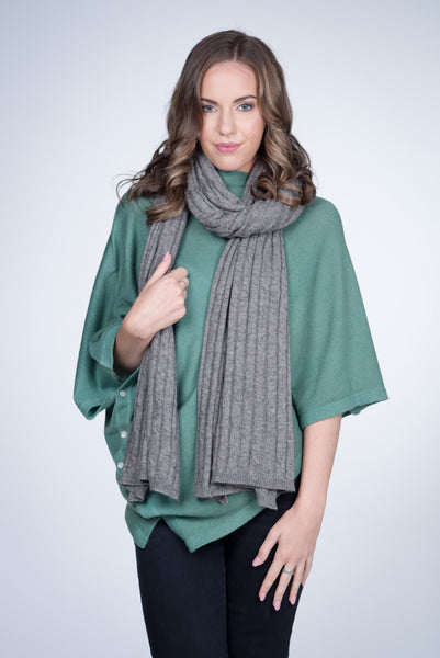 Nine Yaks Cable Knit natural cashmere Shawl -Accessories Mid Grey Melbourne