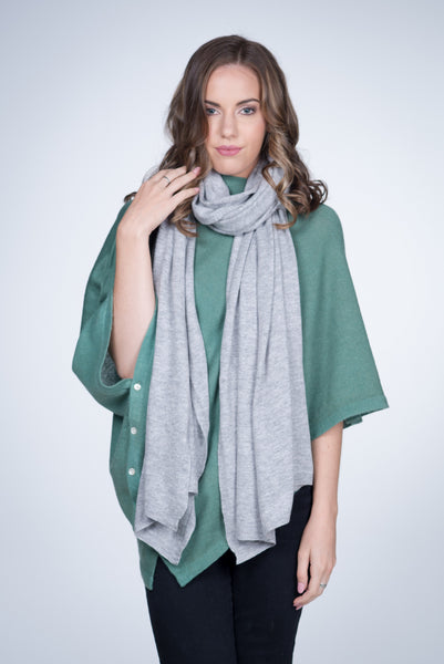 Nine Yaks Knitted Cashmere Shawl -Accessories Light Grey Melbourne