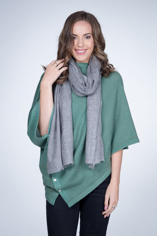 Natural Cashmere Shawl - Mid Grey