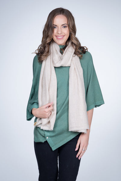 Nine Yaks Natural Cashmere Shawl - Cream -Accessories Melbourne