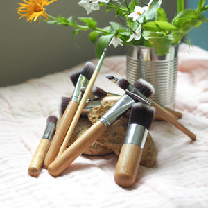 Bamboo Vegan Makeup Brush Set - Pookipoiga