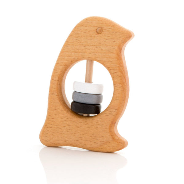 Wooden Penguin Rattle