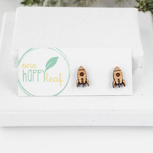 One Happy Leaf Rocket Studs -Earrings
