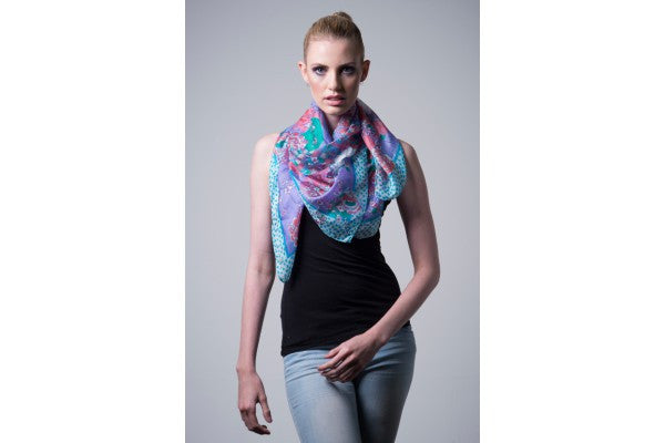 Nine Yaks Blue Silk scarf -Clothing