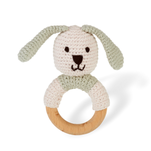 Wooden Ring Rattle - Bunny - Pookipoiga