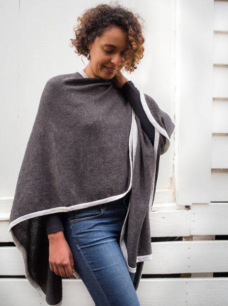 Nine Yaks Zoé Cashmere Cape -Clothing Charcoal Melbourne