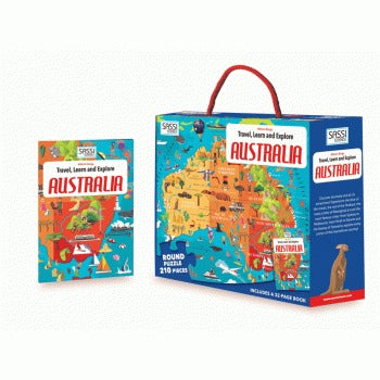 Sassi junior - Sassi Travel, Learn and Explore - Puzzle and Book Set - Australia, 210 pcs - last minute gift idea - melbourne