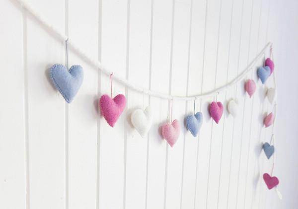 Rainbows and Clover Felt Heart Garland -Homewares Berry Bubble Melbourne
