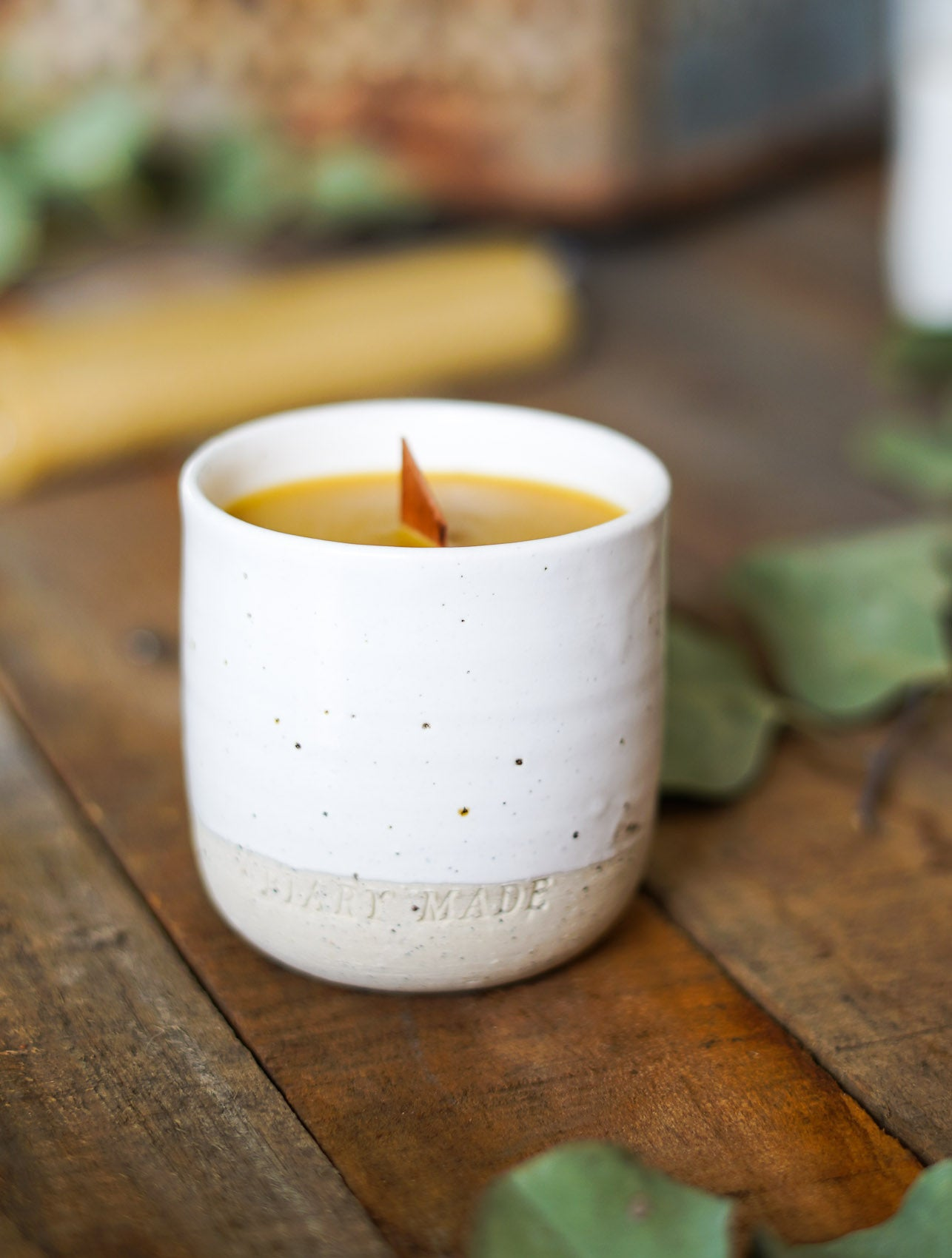 Apiary Made Pure Beeswax and Handmade Ceramic Vessel Candle -Candles