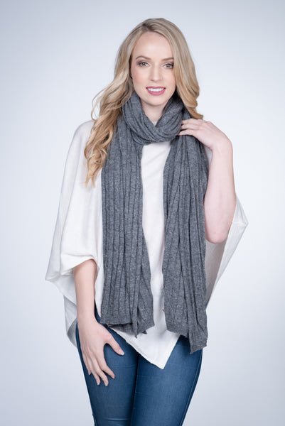 Nine Yaks Cable Knit natural cashmere Shawl -Accessories Charcoal Melbourne