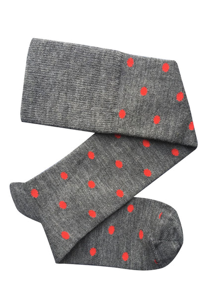 Tightology Dotty Merino Wool Socks -Socks Grey and Red Dots Melbourne